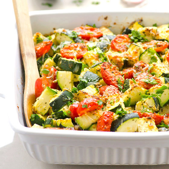 Zucchini Bake with Tomatoes, Garlic and Parmesan