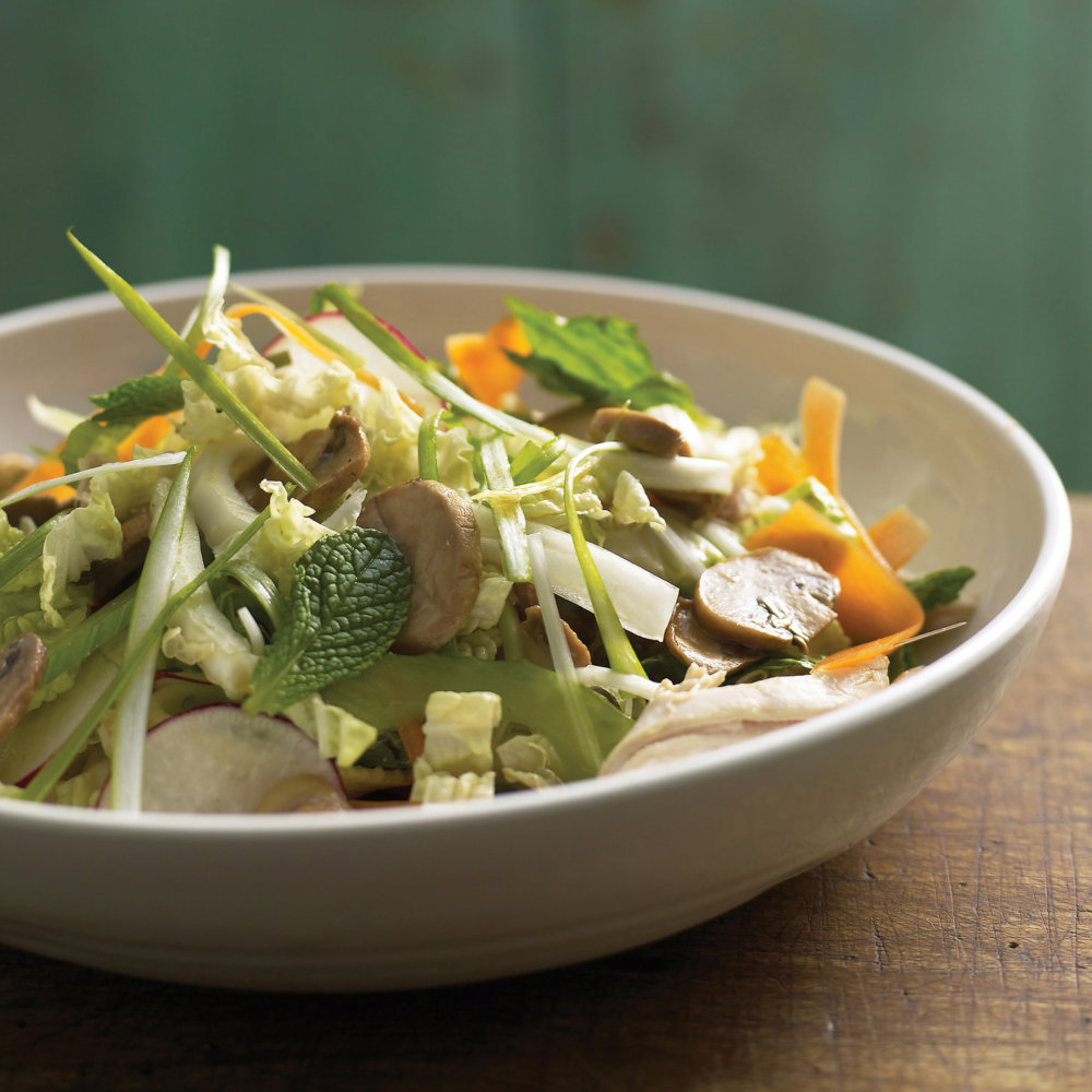 Chicken, Mushroom, and Cabbage Salad with Soy-Lemon Dressing