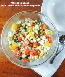 Lemony Chickpea Salad with Zucchini, Tomatoes and Feta Cheese
