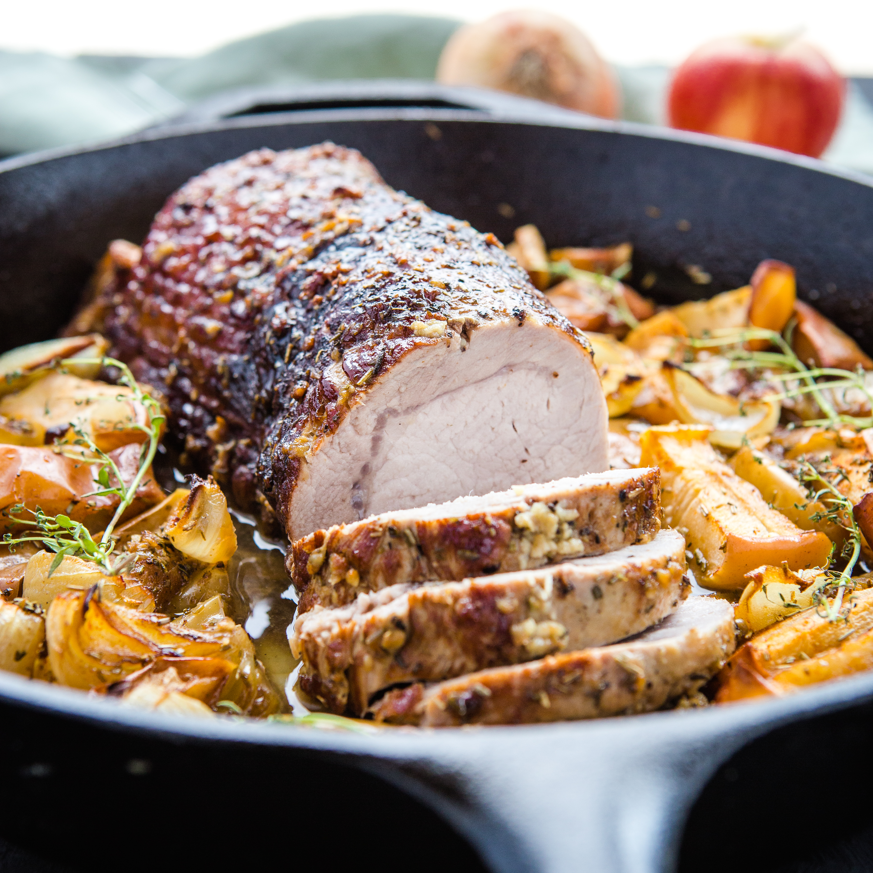Easy One Pan Maple Glazed Pork with Apples and Onions
