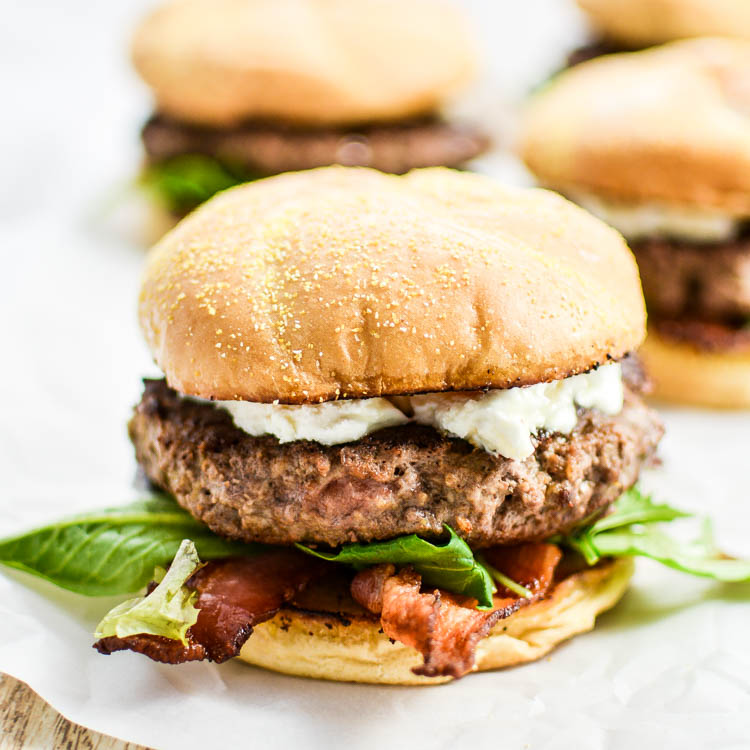 Bacon Goat Cheese Burgers with Honey and Arugula